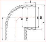 Размер Huasheng пластичный между Dn 15 и Dn100 CPVC 45° Локоть