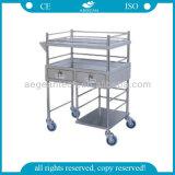 AG-Ss024 Mesa de instrumentos quirúrgicos de 2 cajones de acero inoxidable