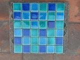 Telha cerâmica do mosaico da piscina da rachadura azul do gelo
