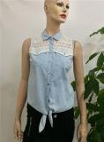 Signora Sleeveless Blouse di Applique del merletto di 2017 del commercio all'ingrosso del denim della maglia delle donne disegni casuali della camicetta