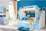 子供の家具の本箱(HC803)が付いている木の二段ベッド