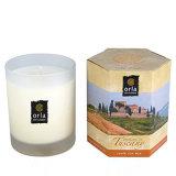 100%のガラス瓶の有機性普及した白い柱の形の香料入りの蝋燭