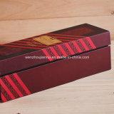 Rectángulo de regalo de empaquetado caliente del vino rojo del papel de la cartulina de la hoja que graba