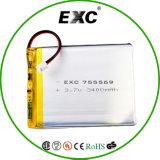 Перезаряжаемые батарея Exc755569 3.7V 3400mAh полимера лития батареи