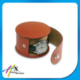 Leather PVC Watch Packaging Gift Caixa redonda com botão, zíper
