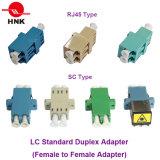 SC / LC / FC / St / Mu / MTRJ / MPO Simplex / Duplex / Quad Singlemode / Multimodo Om3 / Om4 / APC Adaptador de fibra óptica estándar o híbrido