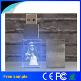 Привод вспышки USB оптовой печати логоса Китая 3D кристаллический