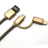 2 в 1 кабеле USB нейлона Braided для iPhone/Samsung