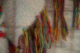 Haarige eingesäumte Poncho-Strickjacke plus das Größen-Frauen-Kleiden