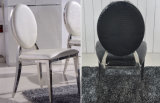 Atacado Modern White Hotel Stainless Steel Ghost Banquet Side Dining Chair