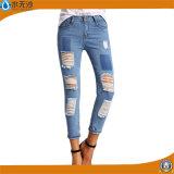 Карандаш застежки -молнии джинсовой ткани женщин вскользь задыхается тощий джинсыы сорванные способом