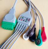 Cable verde de GE-Marquette 11pin Snap&Clip 5 ECG