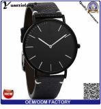 Montre faite sur commande d'hommes de plein des graines Yxl-851 de courroie en cuir de plaine noir minimaliste de montre