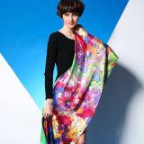 女性のための100%の絹のサテンの倍のデジタル印刷のスカーフ
