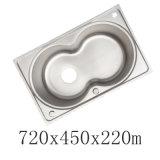 LuxuxEdelstahl-Doppelt-Schüssel-Küche-Wanne des einteiler-Ss304 (YX7245)
