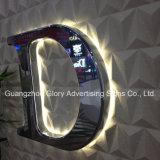 Sinais Backlit diodo emissor de luz inoxidáveis feitos sob encomenda do aço, letras de canaleta ao ar livre iluminadas