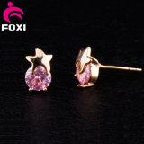 Boucles d'oreille rondes de goujon de rose de charme d'or de la CZ 18k de pierre de type