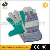 Luvas de couro das luvas dobro da segurança industrial da palma (CB5180)