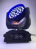 Cabeça movente do diodo emissor de luz 36*18W RGBWA da lavagem 6in1 UV clara do estágio