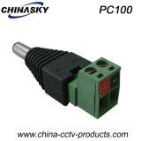 ねじ込み端子(PC100)が付いている男性CCTVのDC電源のプラグ