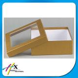 Het Gouden Geschikt om gedrukt te worden Vakje van uitstekende kwaliteit van het Pakket van het Document van het Karton met het Venster van pvc