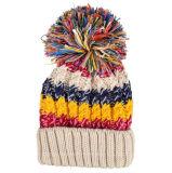 Beanie chaud multi de chapeau de Pompom tricoté par Laides de couleur de mode