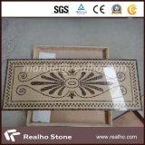 Amarillento/medallón de mármol del mosaico de los colores de Brown para la decoración del suelo