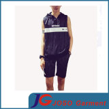 Modo Striped Sleeveless Hooded T-Shirt Suit per Men (JS9035m)