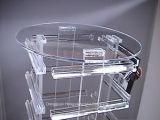 Nouveau dessus acrylique clair tournant de l'affichage W/Mirror de compteur de bijoux de boucle d'oreille