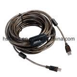 Cabo de extensão chapeado ouro do USB do preto 65FT para câmaras web