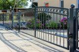 旧式な屋外モーターによって運転される入口の錬鉄のゲート