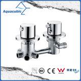 Cromo termostático da válvula de chuveiro do gêmeo moderno do misturador da em-Parede do banheiro