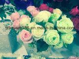 結婚式の段階の装飾のための人工花の大きいヘッドローズの緑の安い花