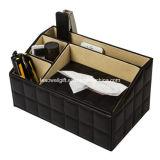 PU 조직 상자 홀더를 가진 가죽 조직자 3 매체 저장 격실