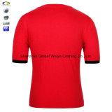 Großhandelsbaumwollnetz-T-Shirt des halsausschnitt-100% Ring gesponnenes