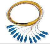 Cabo de correção de programa ótico da fibra da cor do amarelo da única modalidade de qualidade superior de uma comunicação do St