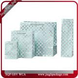 Bolsos del regalo de la concha de peregrino de la piscina y de la plata que estampan bolsos del regalo de la hoja de las bolsas de papel de las compras