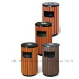 Compartimiento de basura de madera al aire libre del compartimiento de basura del compartimiento del cenicero de madera de metal