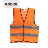 Veste reflexiva da segurança da Elevado-Visibilidade alaranjada de Kseibi