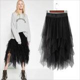 Falda plisada negra de las mujeres del acoplamiento del poliester de la irregularidad
