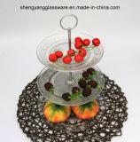 Plaque réglée de /Fruit de plaque en verre stéréoscopique de gâteau avec le poste droit en métal