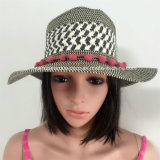 100% соломенной шляпе, Мода Стиль Floppy с мячем Band / цветок / шифон Стиль Ткань