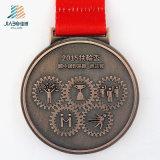 Medaglia su ordinazione poco costosa del nastro impressa 3D del bronzo dell'oggetto d'antiquariato di marchio del banco nei mestieri del metallo