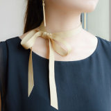 FarbbandDIY Choker-Halsketten-Länge 119cm Champagne-Rose rote graue