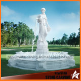 Fuente de mármol blanca con la doncella de la belleza para el jardín Mf-048