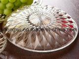 100%の無鉛透過クリスタルグラスのデザート用深皿の結婚式のダイヤモンドの版のガラス製品Sx-026