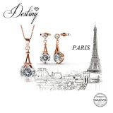 Het Kristal van de Juwelen van het lot van de de Vastgestelde Tegenhanger en Oorringen van Swarovski Parijs