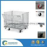 Gaiola dobrável industrial de dobramento do fio/gaiola armazenamento do metal com rodas