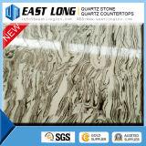 Pedra cinzenta de quartzo da veia do mármore da cor da pedra preta barata de quartzo da cor de Cambria