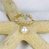 Anello Resizable reale naturale della perla placcato oro